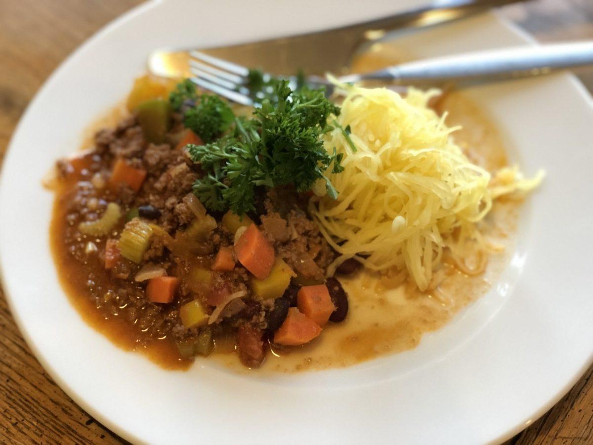 Gresskarspagetti med Chili, sundt og lite karbohydrater